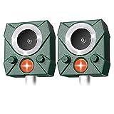 AWLGAK Répulsif Chat Exterieur,Répulsif Chat Ultrason Solaire Sensibilité et Fréquence Réglable Ultrason Chat-avec Alarme et Lumières Clignotantes pour Repousser Animaux Nuisibles (2paquet)