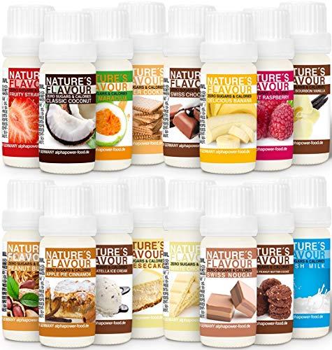 ALPHAPOWER FOOD aromi naturali per alimenti, Super Offerta 16x10ml aroma alimentare, gocce - liquido Flavdrops - Flavour Drops