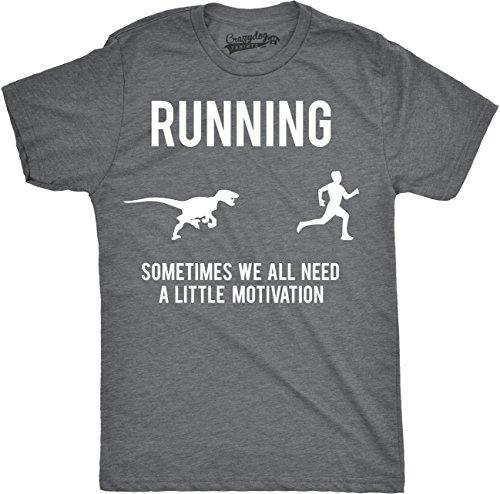Mens Running Motivation Raptor Chase T Shirt Funny Dinosaur Tee Nerdy Graphic (Dark Heather Grey) - S