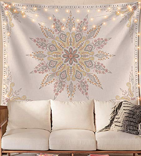 Neasow Bohemian Tapestry Wall Hanging, Beige White Floral Tapestry with Medallion Print Bedroom Boho Home Decor, WhiteSimple, Small 50×60 inches