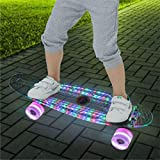 HUAXIAO 22 Inch Skateboard- with Led Light Up Wheels for Beginners,Intelligent Electric Skateboard, Complete Mini Cruiser Retro Skateboard for Kid,Smooth Riding,Durable Polypropylene with Pu Wheels