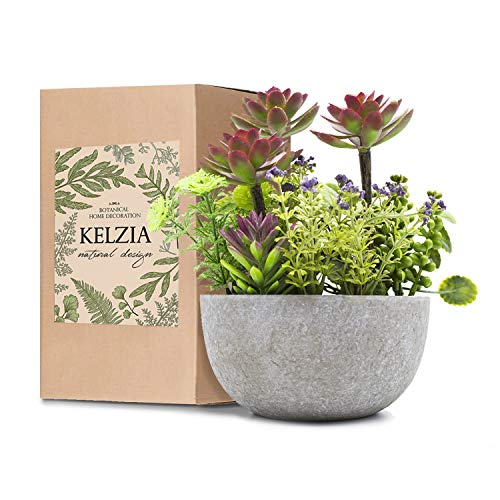 KELZIA Planta Artificial Decorativa - 1 Maceta con Decoracion de Plantas Falsas - Escritorio de Oficina, Mesa, Ventanas, Repisas, Chimenea, Estanteria - Regalo de Decoración (Granate)