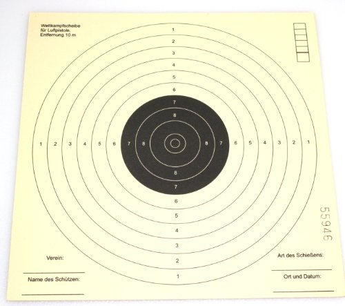 Zielscheiben 17x17 10 Ringe 50 Stück für Kugelfang / Luftpistolenscheiben ISSF Zertifiziert