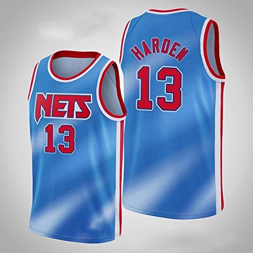XXMM Camisetas para Hombre - NBA Brooklyn Nets # 13 James Harden - Camiseta De Baloncesto, Camiseta Sin Mangas con Chaleco Deportivo De Malla, Transpirable Y Resistente Al Sudor,Azul,M(170~175CM)