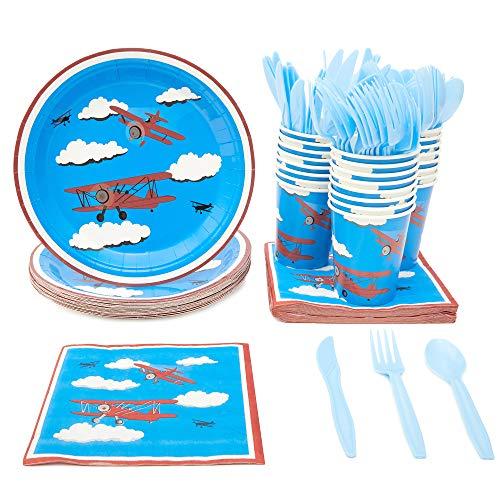 Juego de vajilla desechable – Sirve 24 – Suministros de fiesta de avión para niños cumpleaños – incluye cuchillos de plástico, cucharas, tenedores, platos de papel, servilletas, vasos
