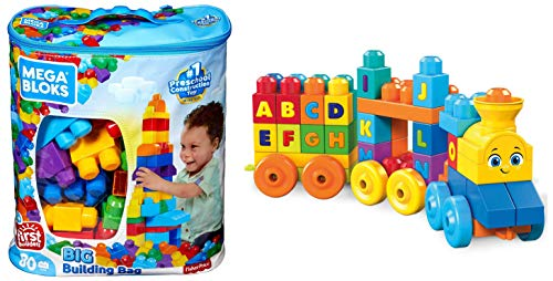 First Builders Big Building Bag AND Mega Bloks ABC Musical Train Building Set, 50 pieces