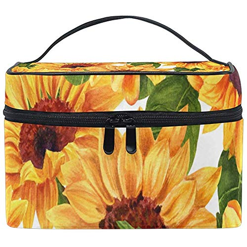Cosmetic Bag, Floral Sunflower Travel Makeup Organizer Bag Cosmetic Case Portable Train Case-NGA1-11K