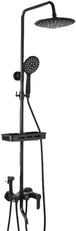 LHW WVX Bathroom Shower Mixer Set,Shower kit, copper black, wall mount, multi-function lift, hand shower