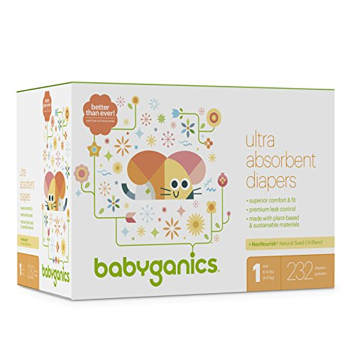 Diapers, Size 1, 232 ct, Babyganics Ultra Absorbant Diapers, Packaging May Vary