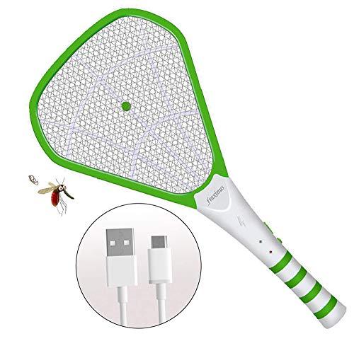 Raqueta Caza Mosquitos Eléctrico, Matamoscas y Matamosquitos, Exterminadora Insectos, Cargador Universal por USB- Recargable Batería 1200mA – Rejilla de 3600 Voltios- Diseño de Malla de Seguridad.