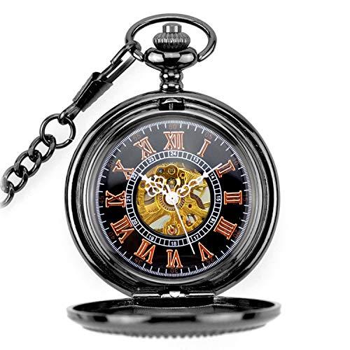 Meilandeng Reloj mecánico de Bolsillo con números Romanos Reloj de Bolsillo de Hueco Collar Hueco Flip Retro de Sol Escopeta Negro Talla Redonda de la aleación