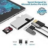 Rytaki Hub USB para Microsoft Surface Pro 4/Pro 5/Pro 6, con 1000M Gigabit Ethernet, 2 Puertos USB 3.0 (5Gps), Puerto de pantalla HDMI 4K, Lector de tarjetas SD/TF, Aluminio
