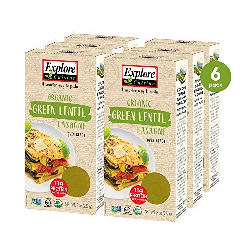 Explore Cuisine Organic Green Lentil Lasagne (6 Pack) - 8 oz - Easy to Make Gluten-Free Pasta - High in Plant-Based Protein - USDA Certified Organic, Non-GMO, Vegan, Kosher - 24 Total Servings