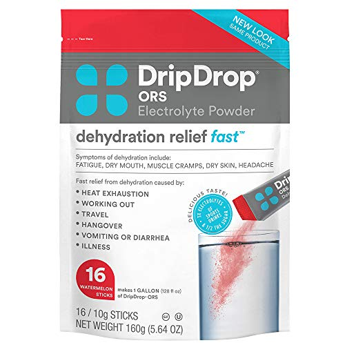 DripDrop ORS - Patented Electrolyte Powder For Dehydration Relief Fast - For Workout, Heat, & Travel Recovery - Watermelon - 16 x 8oz Servings