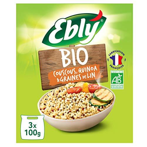 EBLY Blé/Couscous/Quinoa Certifié Bio Cuisson 10 Minutes Set de 6 x 3 Sachets Cuisson de 100 g