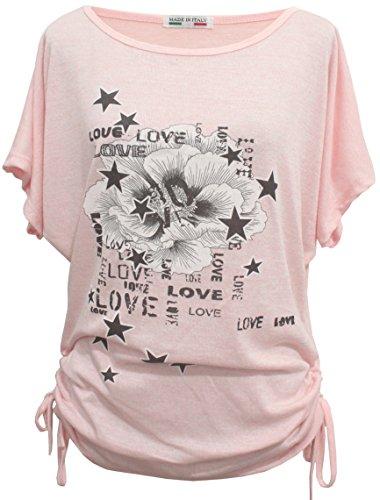 Emma & Giovanni - Sommer T-Shirt/Oberteile Kurzarm - Damen (# Rosa, S)