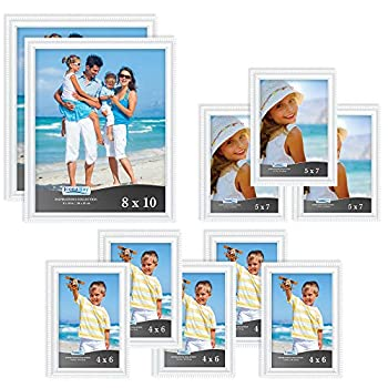 Icona Bay Combination White Picture Frames Set - 10 PC  Five 4x6 Three 5x7 Two 8x10  Inspirations Collection Multi-Pack for Contemporary Wall Gallery