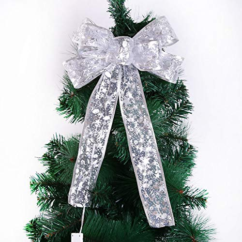jieyun Christmas Tree Topper Bowknot with Led Light