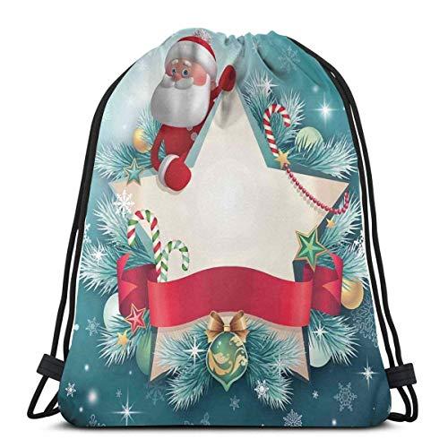 Hangdachang Santa Claus Star Banner copos de nieve cinta y árbol de bastón de caramelo temporada de invierno tema de la temporada, cierre de cadena ajustable impreso cordón mochilas bolsas