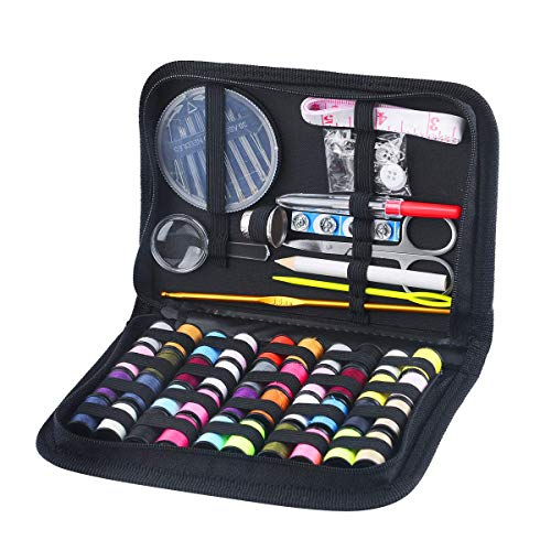 130 Mini Sewing Kit, Southsun DIY Premium Sewing Supplies for Kids, Beginner, Travel, Emergency with Scissors, Thimble, Thread, Needles, Tape Measure, Carrying Case and Accessories