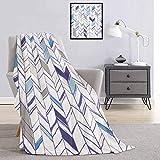 Chevron - Manta de camping resistente o duradera, diseño de líneas tribales en zigzag en varios tonos geométricos boho bosquejo cálido y lavable de 80 x 160 cm, color violeta azul y blanco