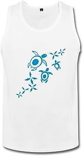 メンズ クール カートゥーン ウミガメ ランニング シャツ タイツ White