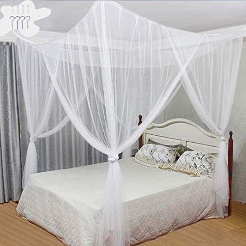 Tinyuet Bed Canopy, 74.8×82.7×94.5in Universal Square Mosquito Net, Hanging Bed Curtain for Most Size Bed - White