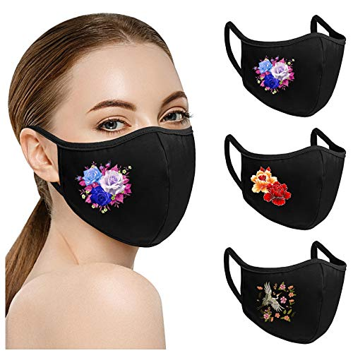 Padaleks 3D Blumen Mund und Nasenschutz Erwachsene Waschbar und Wiederverwendbar Baumwolle Mundschutz Halstuch Atmungsaktiv Staubdichte Stoff Mund-Nasenschutz,3 Mischpaket