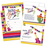 Set of 25 Fiesta Baby Shower Invitations, Diaper Raffle Tickets and Baby Shower Book Request Cards with Envelopes   Taco Bout a Baby Mexican Invites for Baby Shower