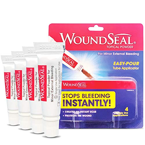 WoundSeal Topical Powder Wound Care First Aid for Cuts Scrapes and Abrasions Single Use 4 count Packaging May Vary