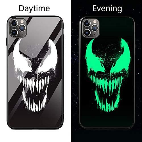 lotuwio Marvel Batman Spiderman Luminous Glass Case para iPhone 11 Pro XS MAX XR X 7 8 6 6S Plus Avengers Black Panther Iron Man Funda para iPhone 6 6S Venom1