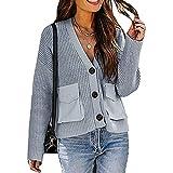 Herbst Und Winter Damen Casual Fashion V-Ausschnitt Einfarbig Langarm Dicke Wolle Strickpullover Tasche Lose Einreihige Strickjacke Damen