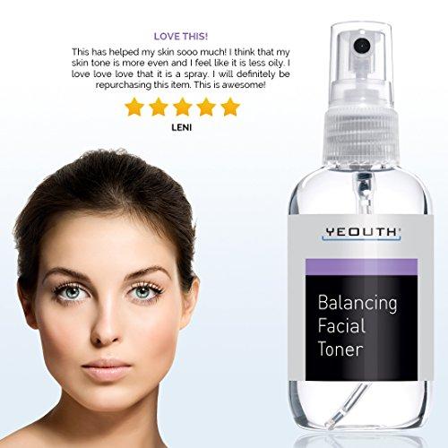 YEOUTH Facial Toner, Hydrating Face Toner - Prep, Tone, Refresh, Skin - Pore Minimizer, Mild Astringent, Face Mist, Perfect for Cleanser, Serum, Moisturizer and Gel Regiment - Best Anti Aging Toner