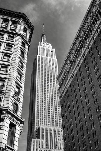 Posterlounge Acrylglasbild 20 x 30 cm: Empire State Building - New York City (schwarz weiß) von Sascha Kilmer - Wandbild, Acryl Glasbild, Druck auf Acryl Glas Bild