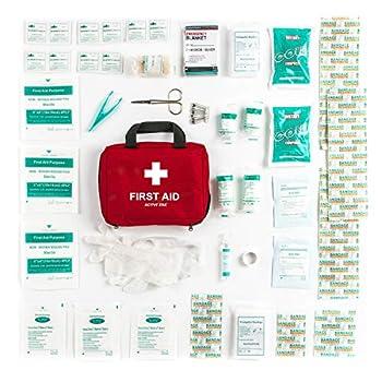 Trousse de Premiers Secours Composée de 90 Articles avec Packs de Froid Instantané, Sérum Physiologique et Couverture de Survie Isothermique