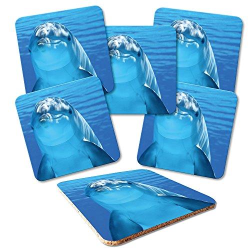 ADDIES Glas-Untersetzer 6-TLG.Set Bedruckt Motiv Delfine/Delphine in hochwertiger Klarsicht-Geschenkbox & Korkrückseite, Tier-Motive-4