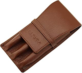 Coffee Leather Fountain Pen Case Pouch 3 Separate Slot Pen Organizer Carrying Holder