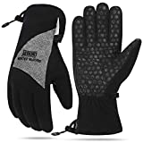 Aegend Winter Warm Gloves - Waterproof & Windproof Thinsulate Thermal Gloves with Wrist Leashes and Zippers for Cold Weather Skiing Driving Motorcycle Cycling - for Men and Women, Medium