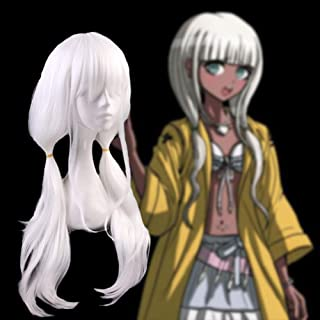 Bowinr Danganronpa V3: Angie Yonaga Cosplay Wig, 30 inch Long White Synthetic Hair Wig for Cosplay and Daily Use