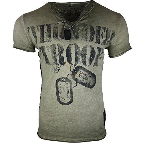 Key Largo heren T-shirt rugdruk sticker doodskop vintage look zomershirt Fit ronde hals O-nek pailletten S M L XL XXL (S, 3 Thunder Troop groen)