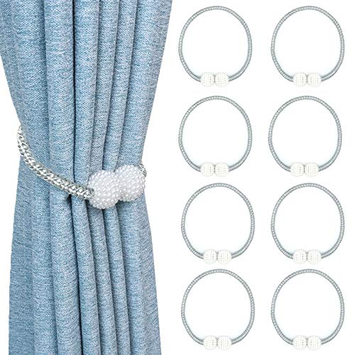 8 Pack Magnetic Curtain Tiebacks Strong and Durable Pearl Style Window Decorative Weave Rope16 Inch Long Drapery Holdback Holders Perfect for Home Office Bathroom Decoration(Grey)