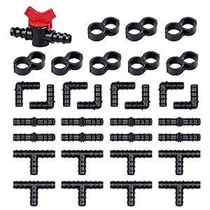 NO/Brand 33pcs Kit de Riego Accesorios incluyendo 1 Válvula de Interruptor, 8 Tees, 8 Acoplamientos, 8 Codos, 8 Tapones de Extremo, Conectores de Púas Accesorios de Riego por Goteo o Sprinkler