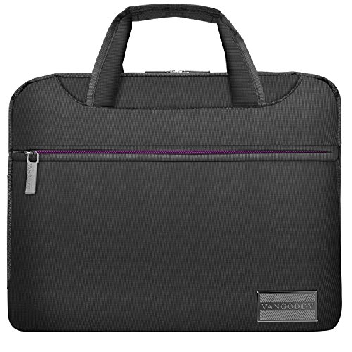 VanGoddy 13 inch Nylon Padded Laptop Messenger Bag Grey and Purple for Acer Switch 3 5, Alpha 12, Chromebook, Aspire R 11, S 13, Spin 1 5 7, Swift 1 5 7 Series 11.6 13.3 14 inch Tablet Laptop