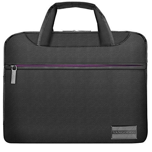 NineO 10 inchNylon Laptop Shoulder Bag Satchel Grey and Purple for Lenovo IdeaPad 10.1 inch, Yoga 10.1 inch11.6 inch12.2 inch, Tab 4 10 Plus, Miix 320 10.1 inch, MediaPad 9.6 inch 10.1 inch