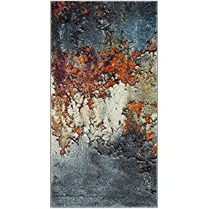 Safavieh Glacier Collection GLA125B Modern Abstract Non-Shedding Stain Resistant Living Room Bedroom Area Rug, 2'7″ x 5′, Blue / Multi