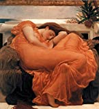 Sir Frederic Leighton Flaming June 1895 Oil Painting Woman Sleeping Oleander Branch Cool Wall Decor Art Print Poster 24x36