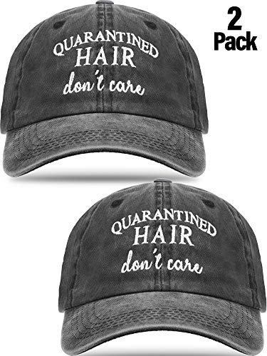 SATINIOR 2 Pack Quarantined Hair Don't Care Baseball Hat Distressed Washed Cotton Baseball Cap Pigment Dyed Low Profile Embroidered Trucker Cap