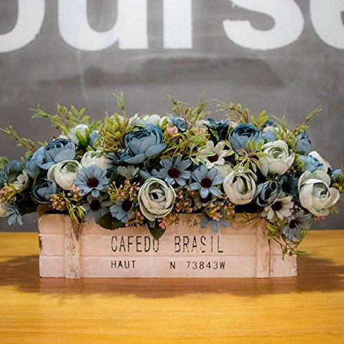 Flinfeays Kunstbloemen namaakbloemen creatieve houten hekken DIY kerstgeschenken bruiloft party keuken wooncultuur bloempotten zeer realistische blauw-17