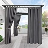 RYB HOME Patio Curtain Outdoor - Thermal Insulated Drapes Stain Proof Home Décor for Lawn & Garden, Wind Proof Washable Curtains for Exterior/Outside Screen, 1 Panel, 52 x 95, Grey