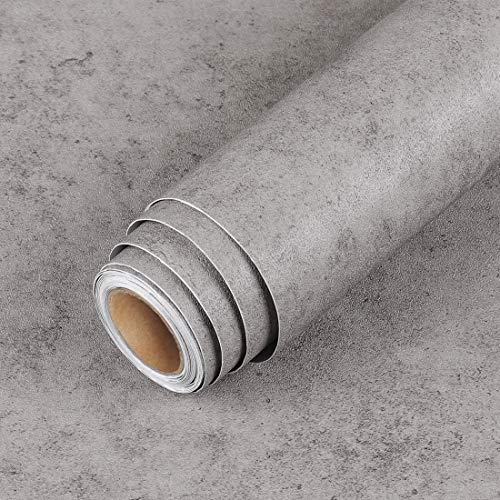 LaCheery Extra Thick Gray Concrete Wallpaper Peel and Stick Concrete Countertops 15.8'x80' Decorative Self Adhesive Wallpaper Waterproof Cement Contact Paper Grey Wall Backdrop Removable Wall Paper